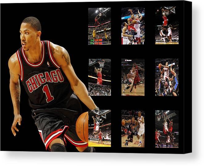Derrick Rose Canvas Print featuring the photograph Derrick Rose by Joe Hamilton