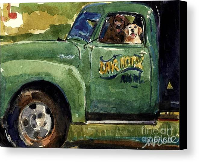 Dogs In Truck Canvas Print featuring the painting Good Ole Boys by Molly Poole