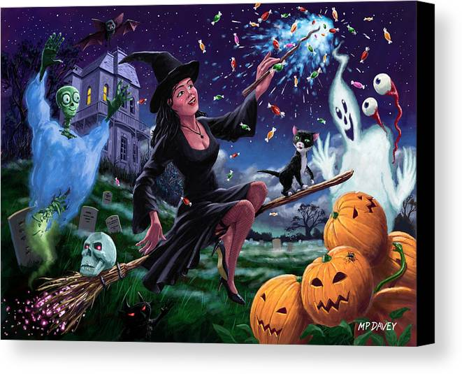 Halloween Canvas Print featuring the painting Happy Halloween Witch With Graveyard Friends by Martin Davey