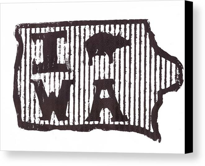 Iowa Canvas Print featuring the drawing I Pig W A by Jame Hayes