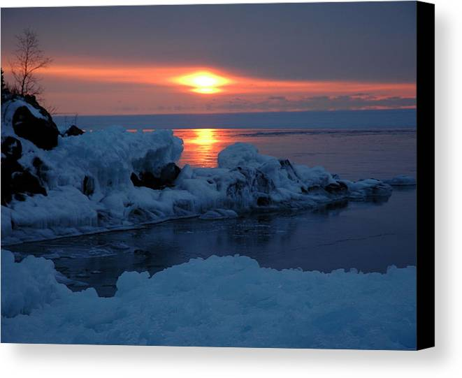 Ice Canvas Print featuring the photograph Icy Lake Superior Sunrise by Sandra Updyke