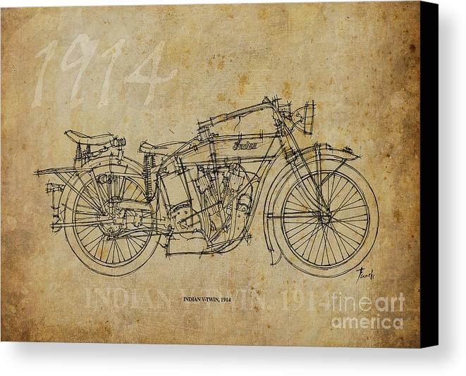 Indian Canvas Print featuring the painting Indian V-twin 1914 by Pablo Franchi