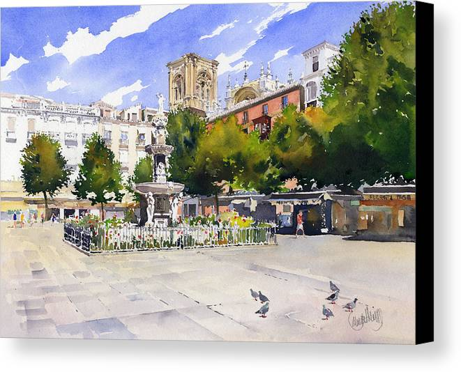 Plaza Bib Rambla Canvas Print featuring the painting Plaza Bib Rambla by Margaret Merry