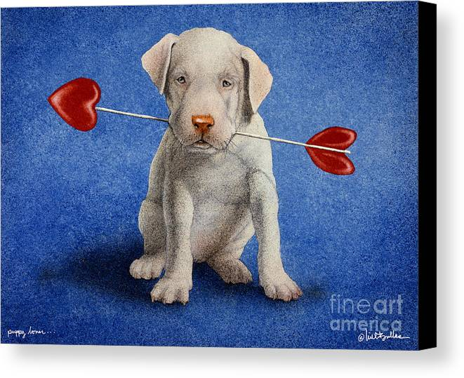 Will Bullas Canvas Print featuring the painting Puppy Lover... by Will Bullas