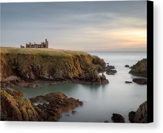 Slains Castle Canvas Print featuring the photograph Slains Castle Sunrise by Dave Bowman