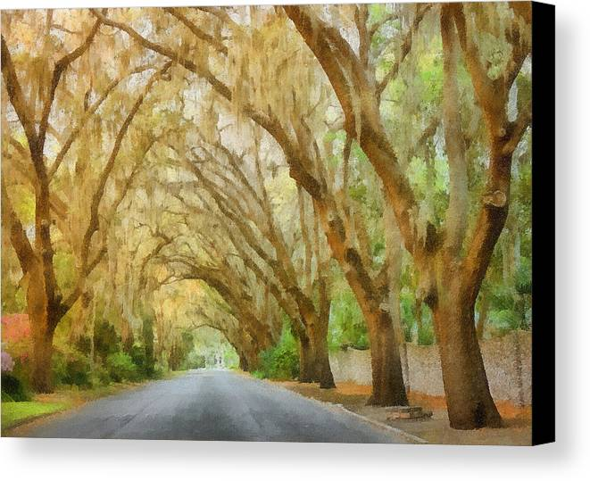 Spanish Canvas Print featuring the painting Spanish Moss - Symbol Of The South by Christine Till