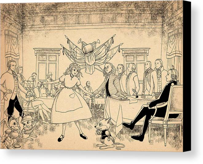 Wurtherington Canvas Print featuring the drawing Tammy In Indpendence Hall by Reynold Jay