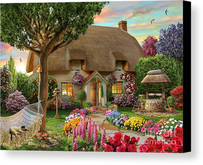 Thatched Cottage Canvas Print featuring the digital art Thatched Cottage by Adrian Chesterman
