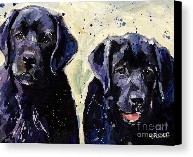 Labrador Retriever Puppies Canvas Print featuring the painting Water Boys by Molly Poole