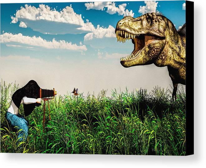 Dinosaur Canvas Print featuring the digital art Wildlife Photographer by Bob Orsillo