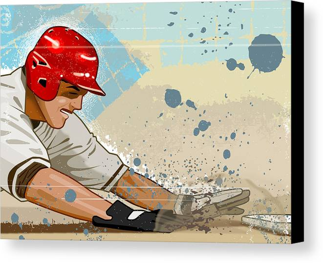 Adult Canvas Print featuring the digital art Baseball Player Sliding Into Base by Greg Paprocki