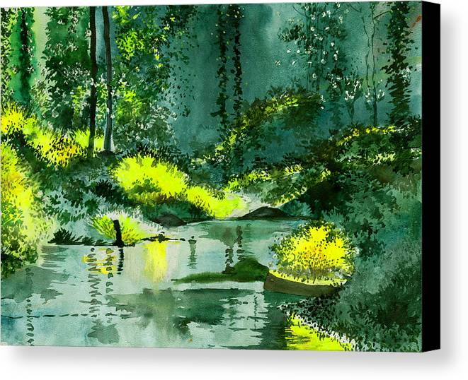 Nature Canvas Print featuring the painting Tranquil 1 by Anil Nene