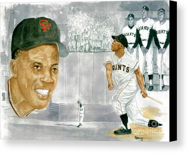 Willie Mays Canvas Print featuring the painting Willie Mays - The Greatest by George Brooks