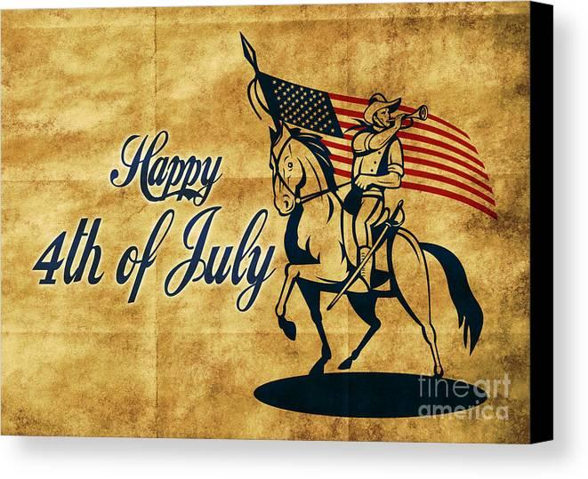 American Canvas Print featuring the digital art American Cavalry Soldier by Aloysius Patrimonio