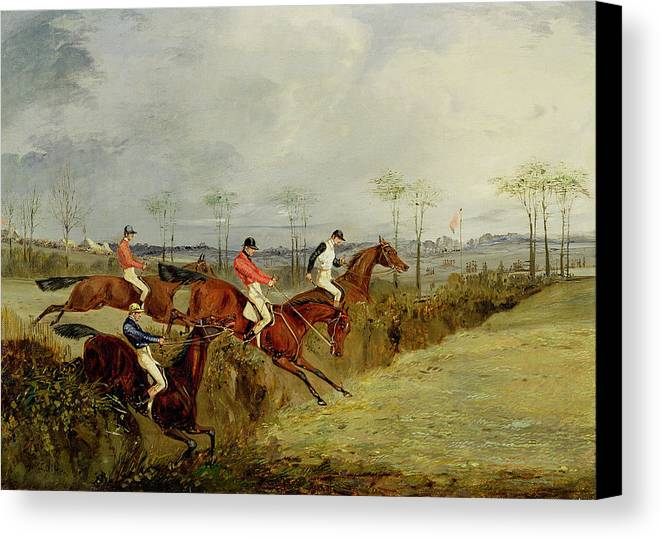 Steeplechase Canvas Print featuring the painting A Steeplechase - Taking A Hedge And Ditch by Henry Thomas Alken