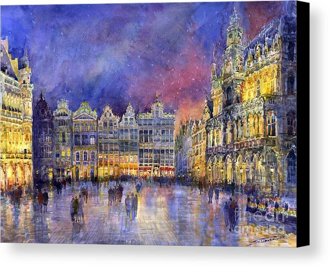 Watercolour Canvas Print featuring the painting Belgium Brussel Grand Place Grote Markt by Yuriy Shevchuk