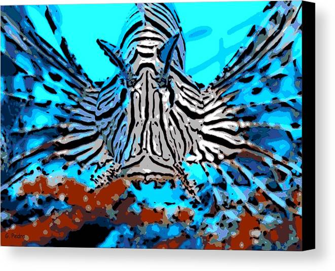 Lion Fish Canvas Print featuring the photograph Brilliant Stripes by George Pedro