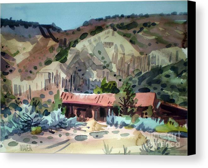 New Mexico Canvas Print featuring the painting Espanola On The Rio Grande by Donald Maier