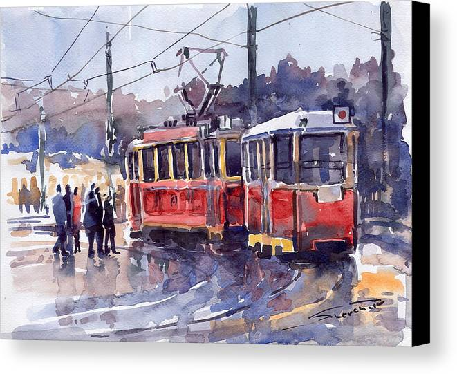 Cityscape Canvas Print featuring the painting Prague Old Tram 01 by Yuriy Shevchuk