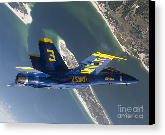 Blue Angels Canvas Print featuring the photograph The Blue Angels Perform A Looping by Stocktrek Images
