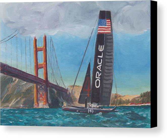San Francisco Canvas Print featuring the painting Americas Cup By The Golden Gate by James Lopez