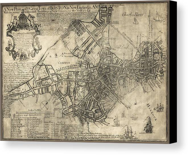 Boston Canvas Print featuring the photograph Boston Of British Dominion Map 1769 by Daniel Hagerman
