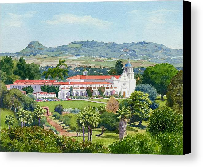 California Canvas Print featuring the painting California Mission San Luis Rey by Mary Helmreich