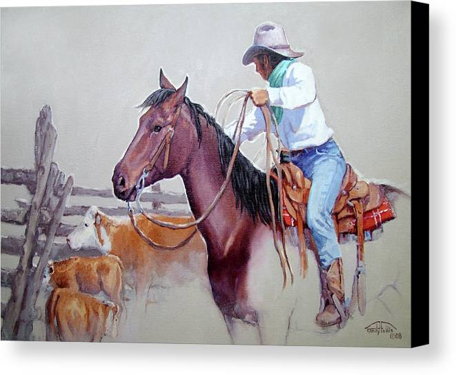 Cowboy Canvas Print featuring the painting Dusty Work by Randy Follis