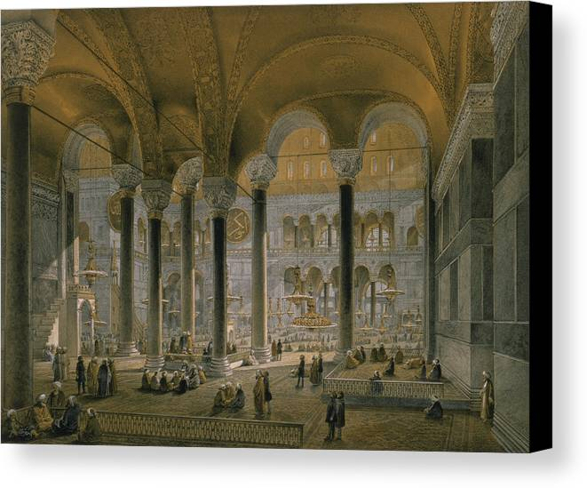 Interior Canvas Print featuring the drawing Haghia Sophia, Plate 6 The North Nave by Gaspard Fossati