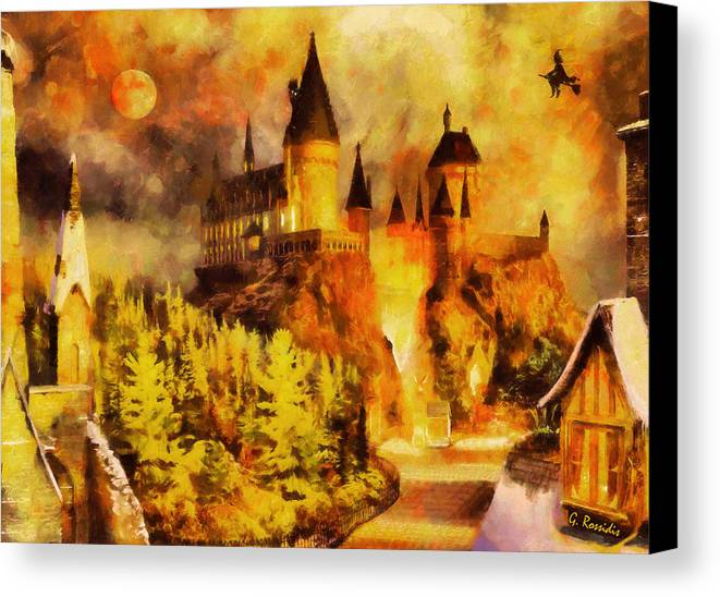 Rossidis Canvas Print featuring the painting Hogwarts College by George Rossidis