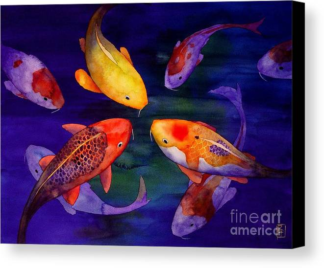 Watercolor Canvas Print featuring the painting Koi Friends by Robert Hooper