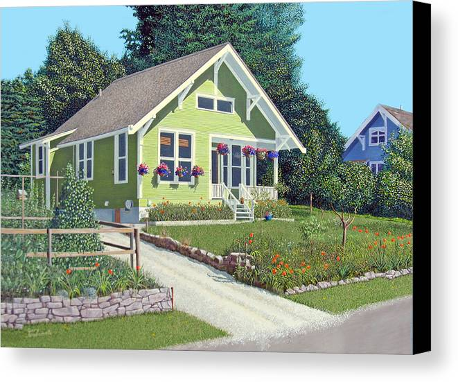 Powell River Canvas Print featuring the painting The Pickles House by Gary Giacomelli