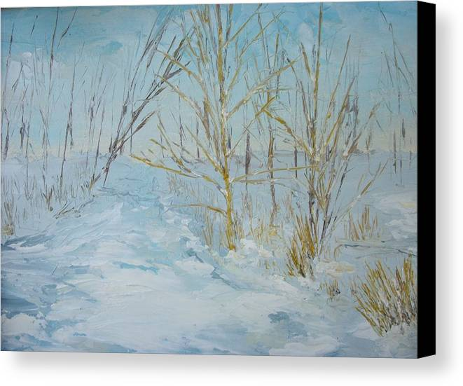 Landscape Canvas Print featuring the painting Winter Scene by Dwayne Gresham