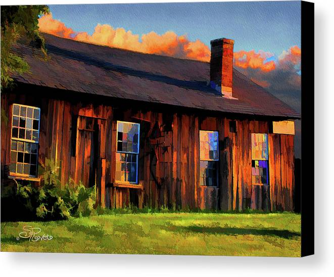 Shed Canvas Print featuring the painting Farrier's Shed by Suni Roveto