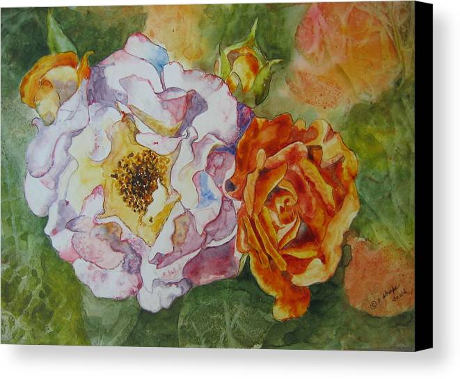 Close Focus Floral Canvas Print featuring the painting Green Ice by Patsy Sharpe