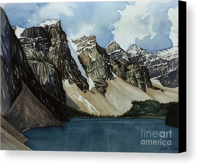 Moraine Lake Canvas Print featuring the painting Moraine Lake by Scott Nelson