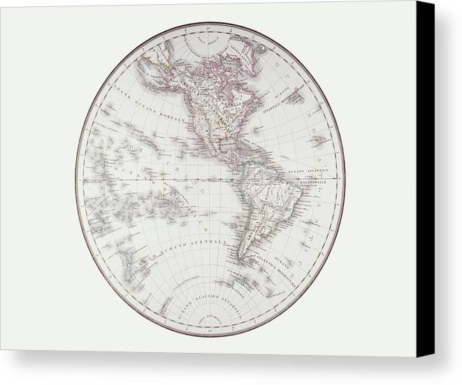 Horizontal Canvas Print featuring the digital art Planispheric Map Of The Western Hemisphere by Fototeca Storica Nazionale