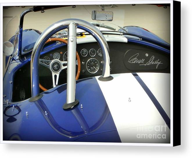 Carroll Shelby Canvas Print featuring the photograph Shelby Signed Cobra by Karyn Robinson