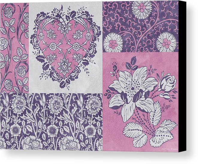 Flowers Canvas Print featuring the painting Deco Heart Pink by JQ Licensing