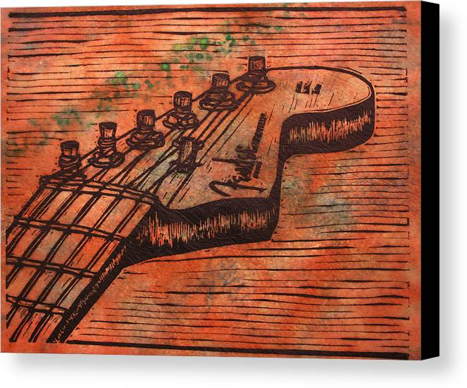 Fender Canvas Print featuring the drawing Fender Strat by William Cauthern