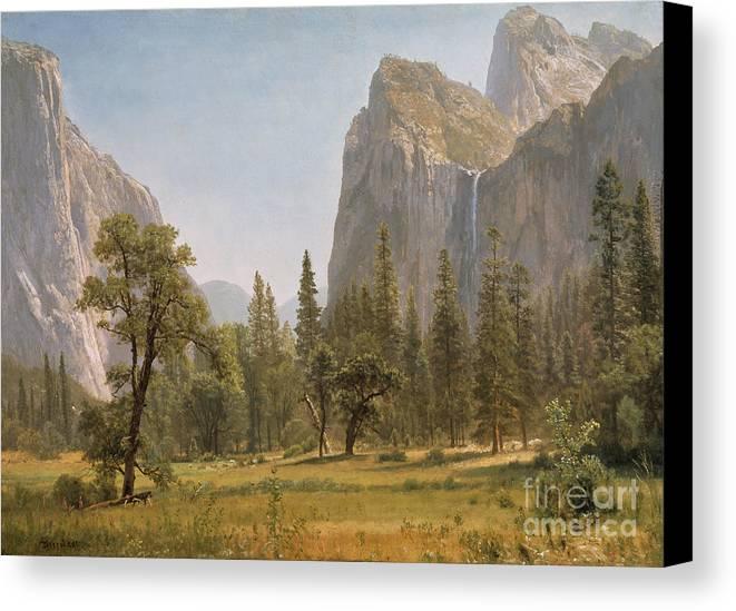 Bridal Canvas Print featuring the painting Bridal Veil Falls Yosemite Valley California by Albert Bierstadt