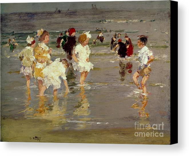 Water Canvas Print featuring the painting Children On The Beach by Edward Henry Potthast