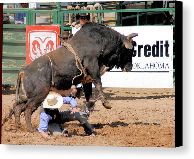 Rodeo Photos Canvas Print featuring the photograph Close Calls by Cheryl Poland