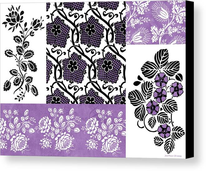 Flowers Canvas Print featuring the painting Deco Flower Patchwork 3 by JQ Licensing