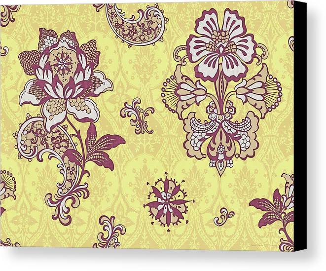 Flowers Canvas Print featuring the painting Deco Flower Yellow by JQ Licensing