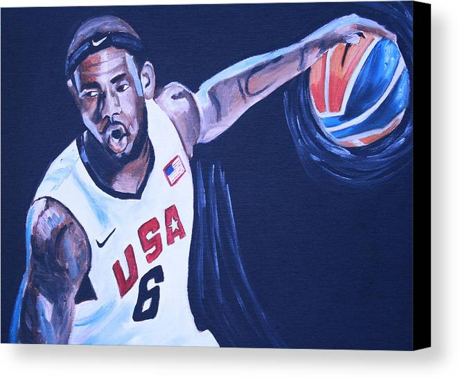 Basketball Paintings Canvas Print featuring the painting Lebron James Portrait by Mikayla Ziegler