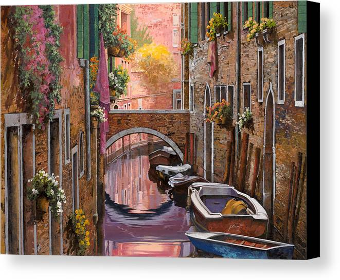 Venice Canvas Print featuring the painting Mimosa Sui Canali by Guido Borelli