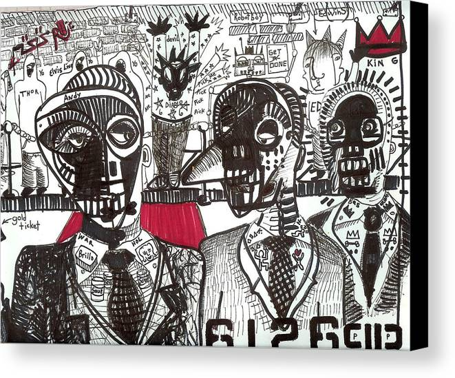 Rwjr Canvas Print featuring the drawing Private Party by Robert Wolverton Jr