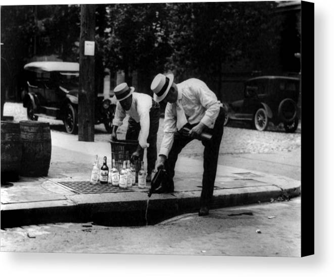 1920s Candid Canvas Print featuring the photograph Prohibition, Pouring Whiskey by Everett