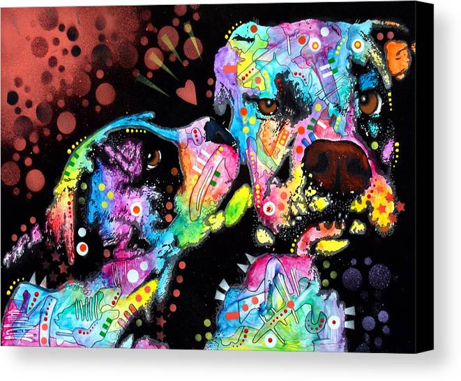 Dog Canvas Print featuring the painting Puppy Love by Dean Russo